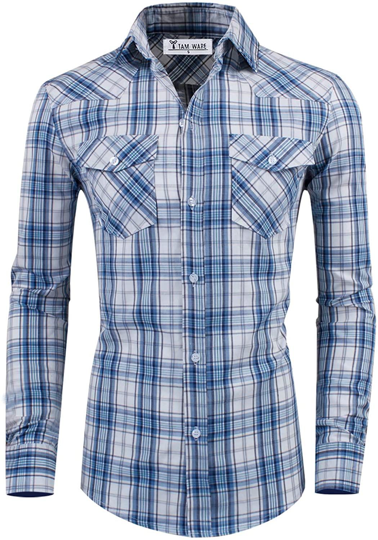 TAM WARE Men's Stylish Slim Fit Cotton Plaid Pocket Long Sleeve Shirt