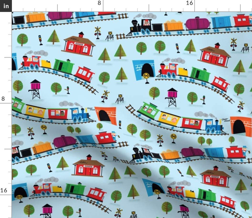Spoonflower Fabric - Trains, Blue, Nursery, Railroad, Rainbow, Baby Boy, Baby Girl, Printed on Petal Signature Cotton Fabric by The Yard - Sewing Quilting Apparel Crafts Decor