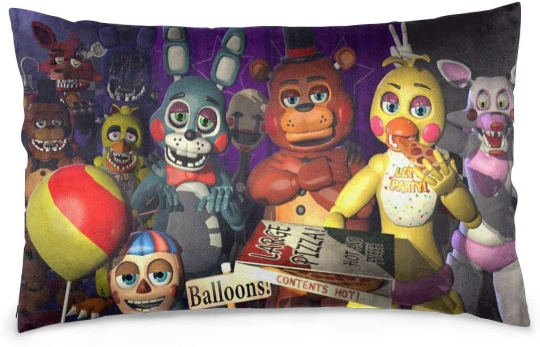 Custom Five Nights at Freddys Throw Pillow Cases Decorative Pillowslip for Couch, Sofa,Bed, 3D Print FNAF Pillow Soft Cushion Cover A Great Gift for Halloween Decoration for Living Room Size 20X30