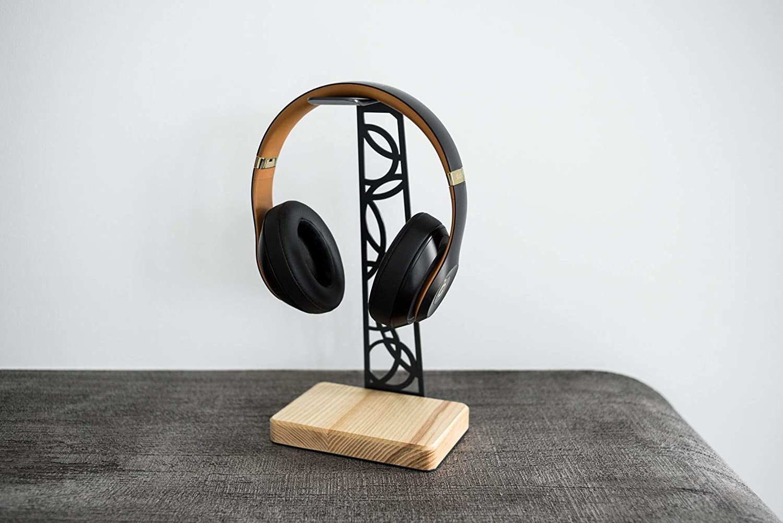 EWART WOODS Headphone Stand Headphone Hanger Headphone Holder Metal and Wood Headphone Holder Gift for Music Lover (Grey Circle)