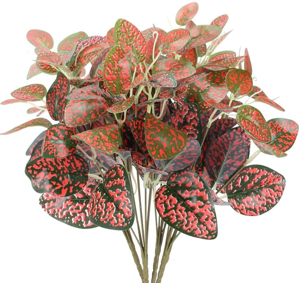 NAHUAA 4 Pieces Artficial Plants 7 Head Red Fake Flowers Floral Arrangement Indoor Outdoor Home Kitchen Garden Wedding Decoration