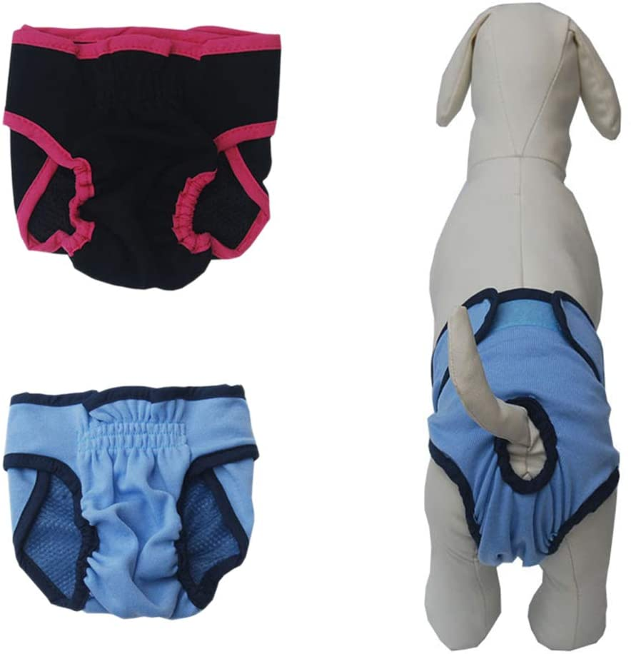 POPETPOP 3-Piece Durable Cotton Washable Soft Pet Dog Nappy Pants Sanitary Underwear Wraps Physiological Pants S