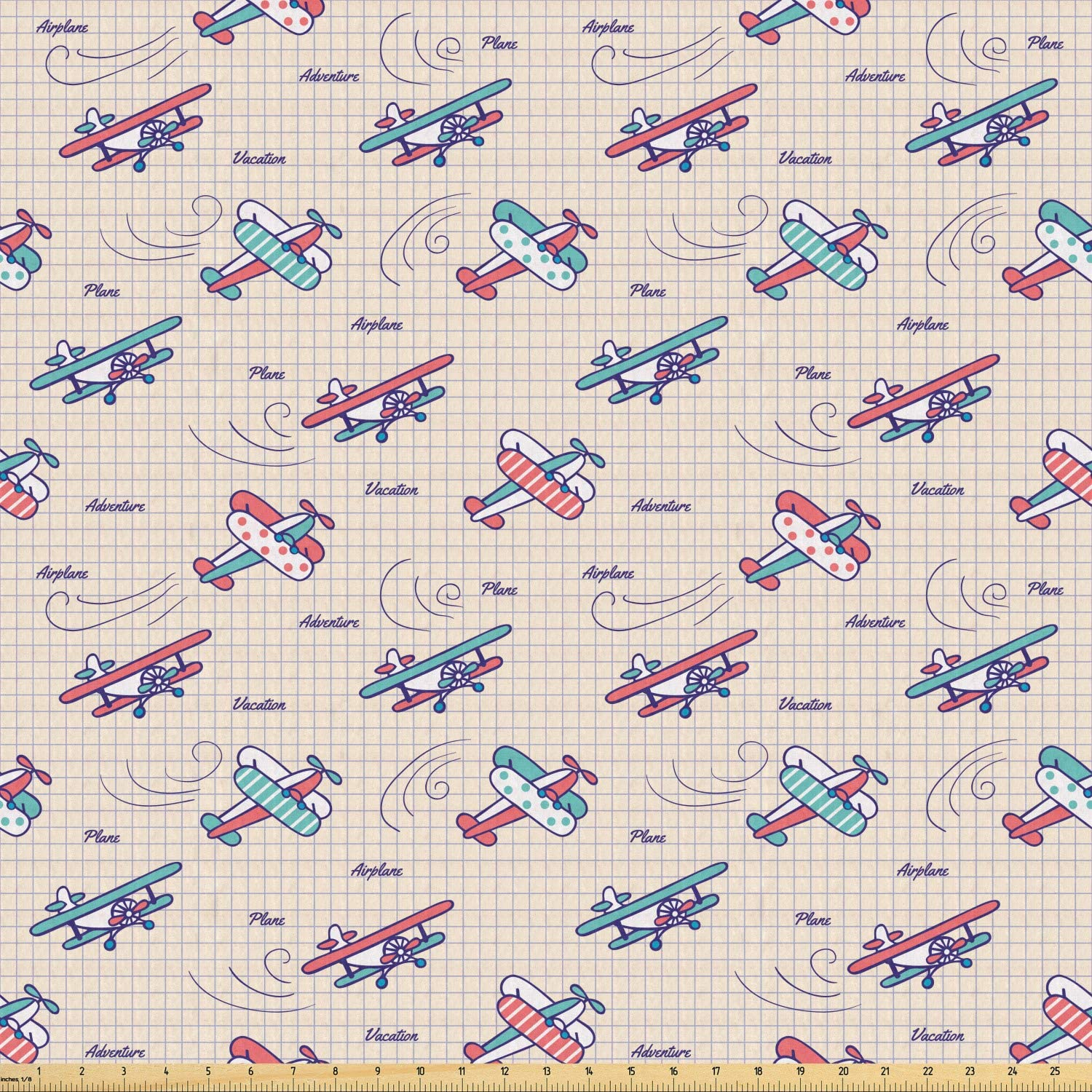 Ambesonne Vintage Airplane Fabric by The Yard, Colorful Aircrafts on Notebook Background Adventure Exploration Theme, Stretch Knit Fabric for Clothing Sewing and Arts Crafts, 5 Yards, Multicolor