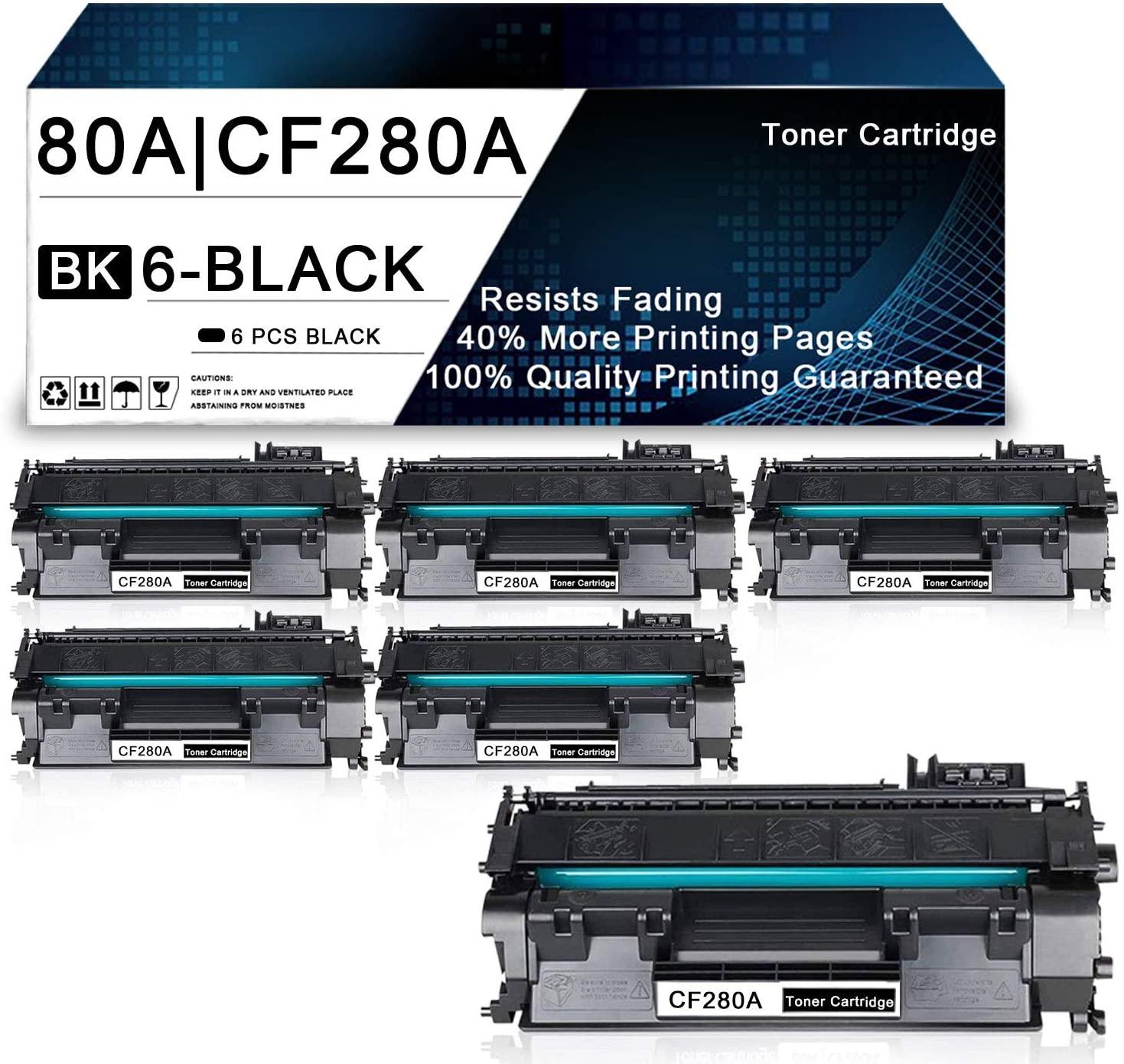 6 Pack Black 80A   CF280A Compatible Toner Cartridge Replacement for HP Laserjet Pro 400 M401n M401dw M401dne M401dn MFP M425dn Printers Toner Cartridge.