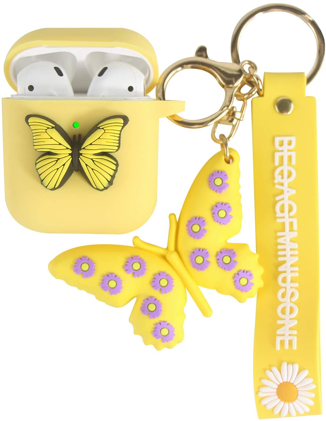 Heniu for Airpod Case, 3D Butterfly Silicone Airpods Case Cute Cover with Keychain Compatible for Apple Airpods 2&1 Charging Case-Yellow