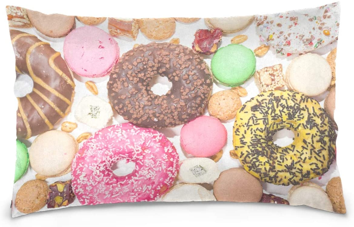 Kaariok Donuts Macarons Colorful Cotton Pillowcase Queen Size Decorative Soft Pillow Case Cover Protector with Hidden Zipper 20 X 30 Inches