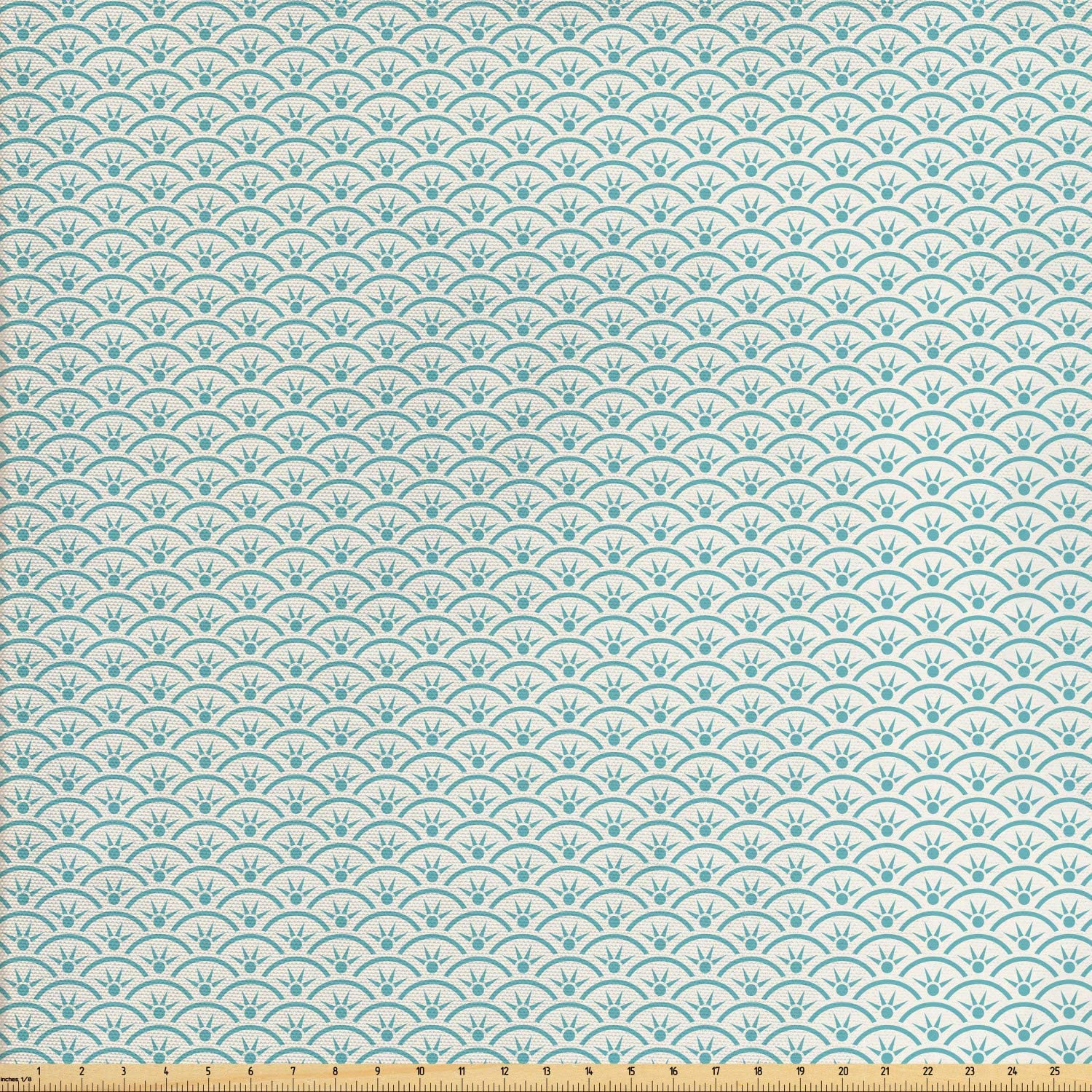 Ambesonne Japanese Fabric by The Yard, Ocean Illustration Curvy Rippled Aqua Bubbly Sun and Rays, Decorative Fabric for Upholstery and Home Accents, 1 Yard, Sky Blue White