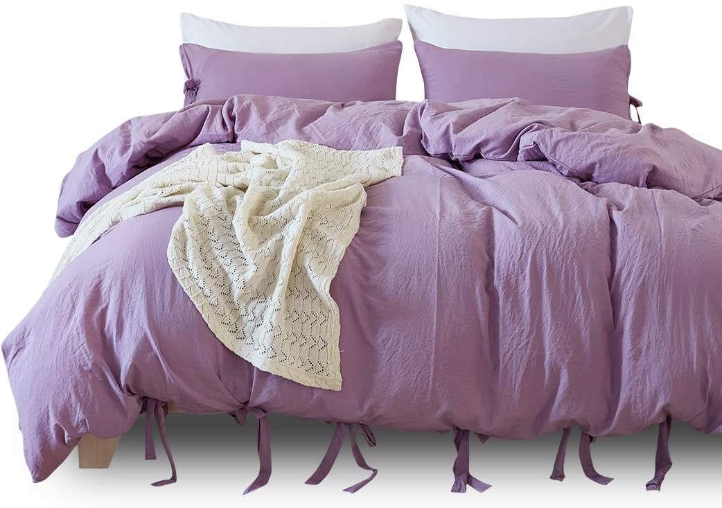 Fashion·LIFE 3 Sets of Bedding, Quilt Cover, Pillowcase, Washed Quilt Cover Purple KING/264X229cm