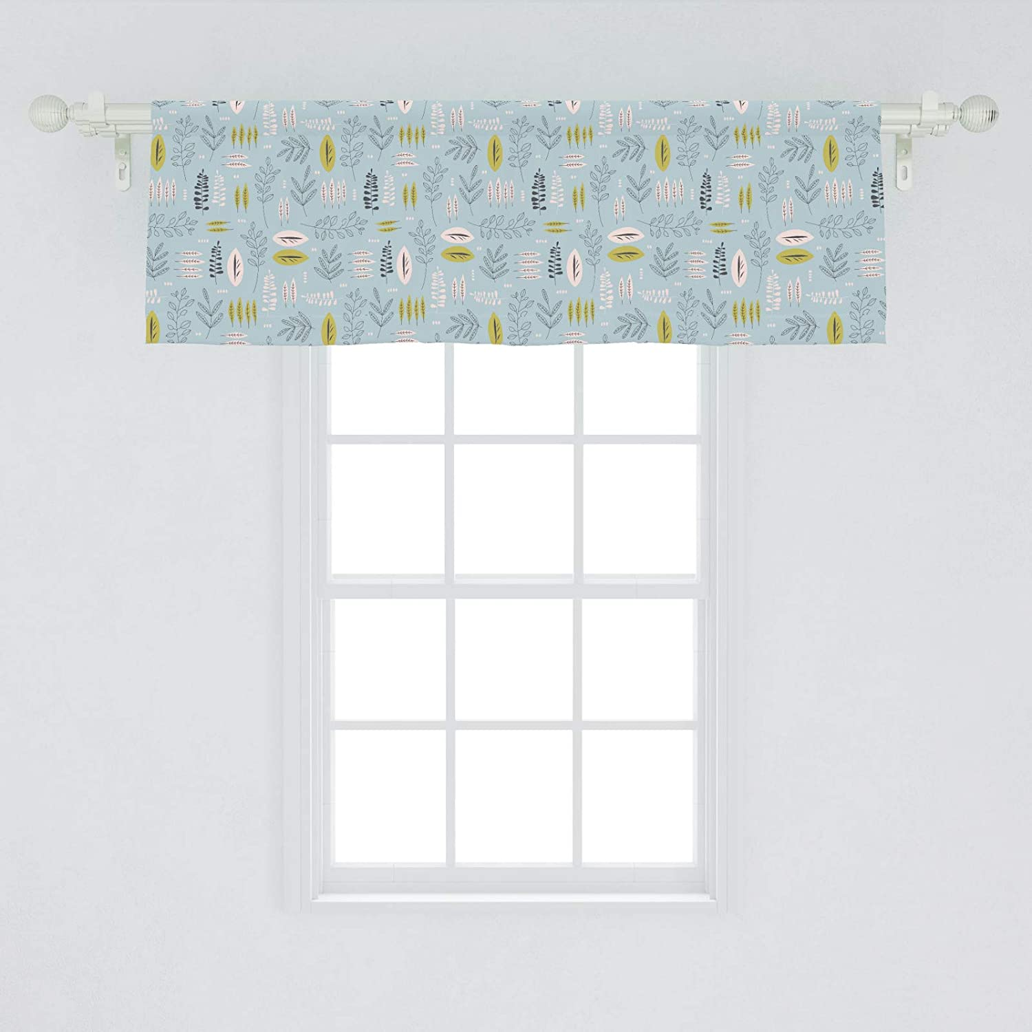 Ambesonne Botanical Window Valance, Continuous Pattern of Leaves and Branches, Curtain Valance for Kitchen Bedroom Decor with Rod Pocket, 54