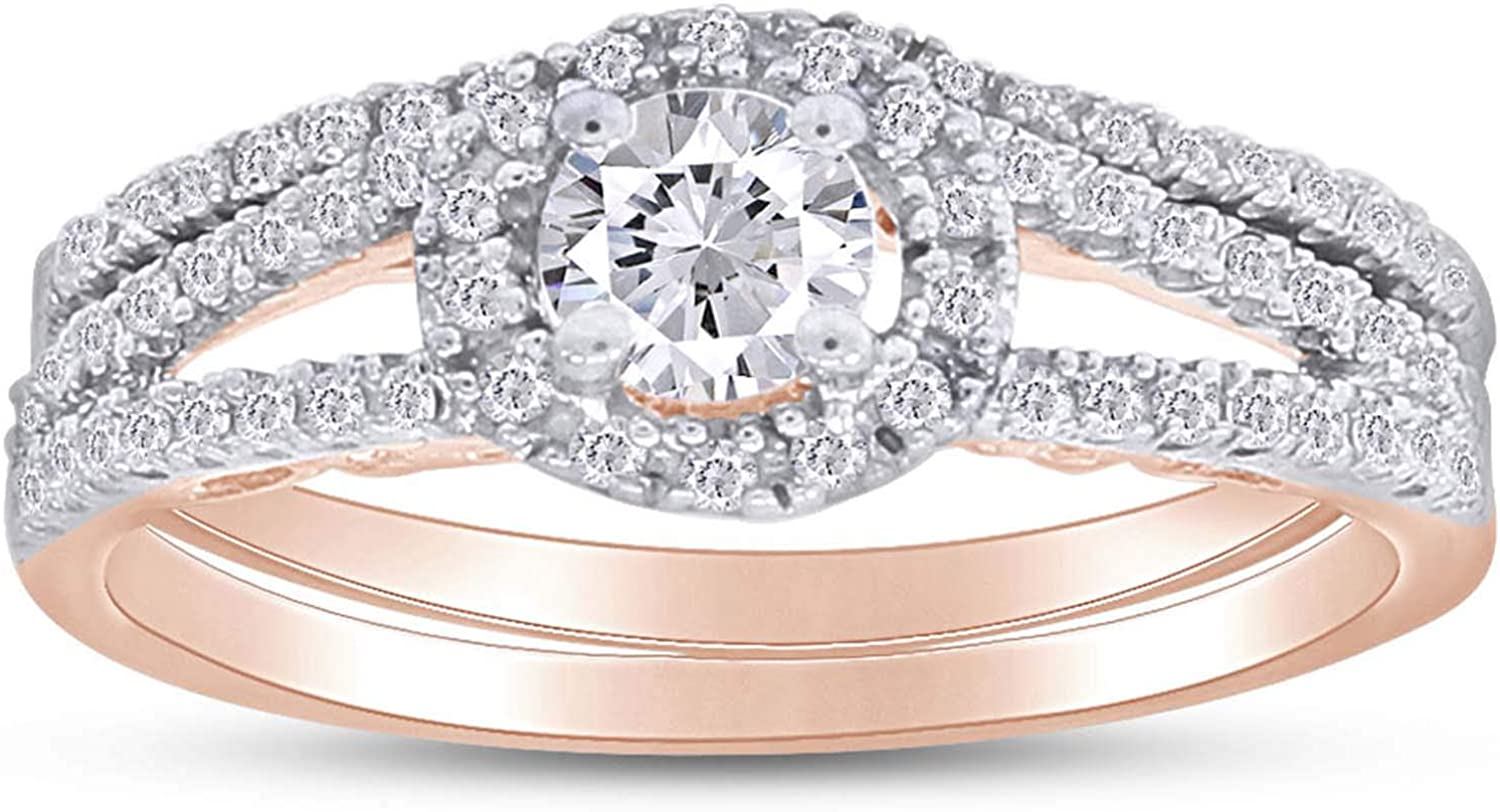 Jewel Zone US White Cubic Zirconia Engagement & Wedding Bridal Ring Set in 14K Gold Over Sterling Silver (1.15 Cttw)