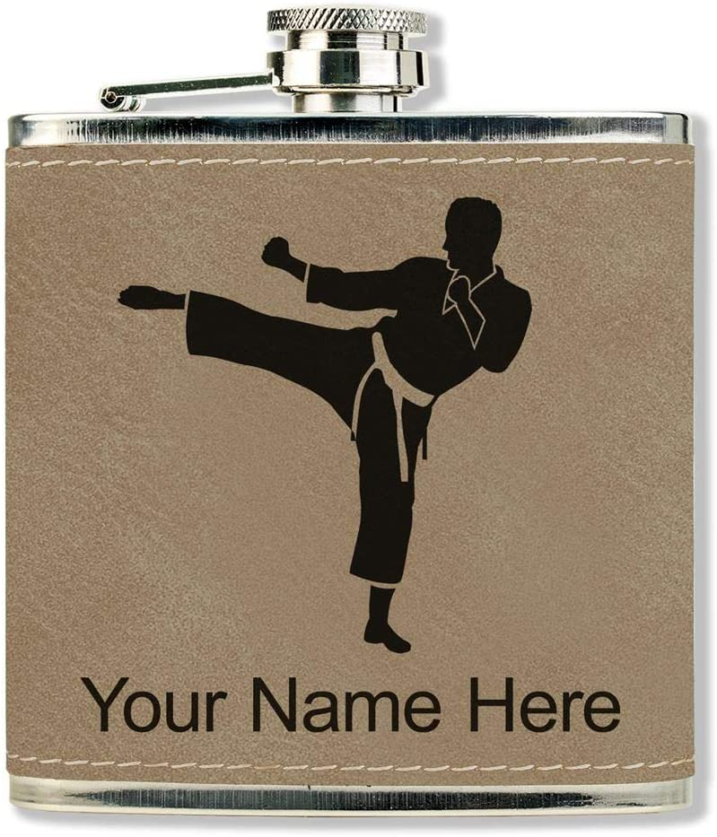 Faux Leather Flask, Karate Man, Personalized Engraving Included (Light Brown)