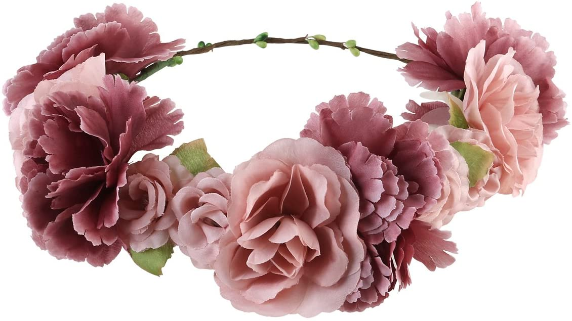 ULTNICE Bridal Bridesmaid Flower Headband,Boho Flower Wreath Headband Floral Garland Crown Hair Accessories for Wedding Featival Party