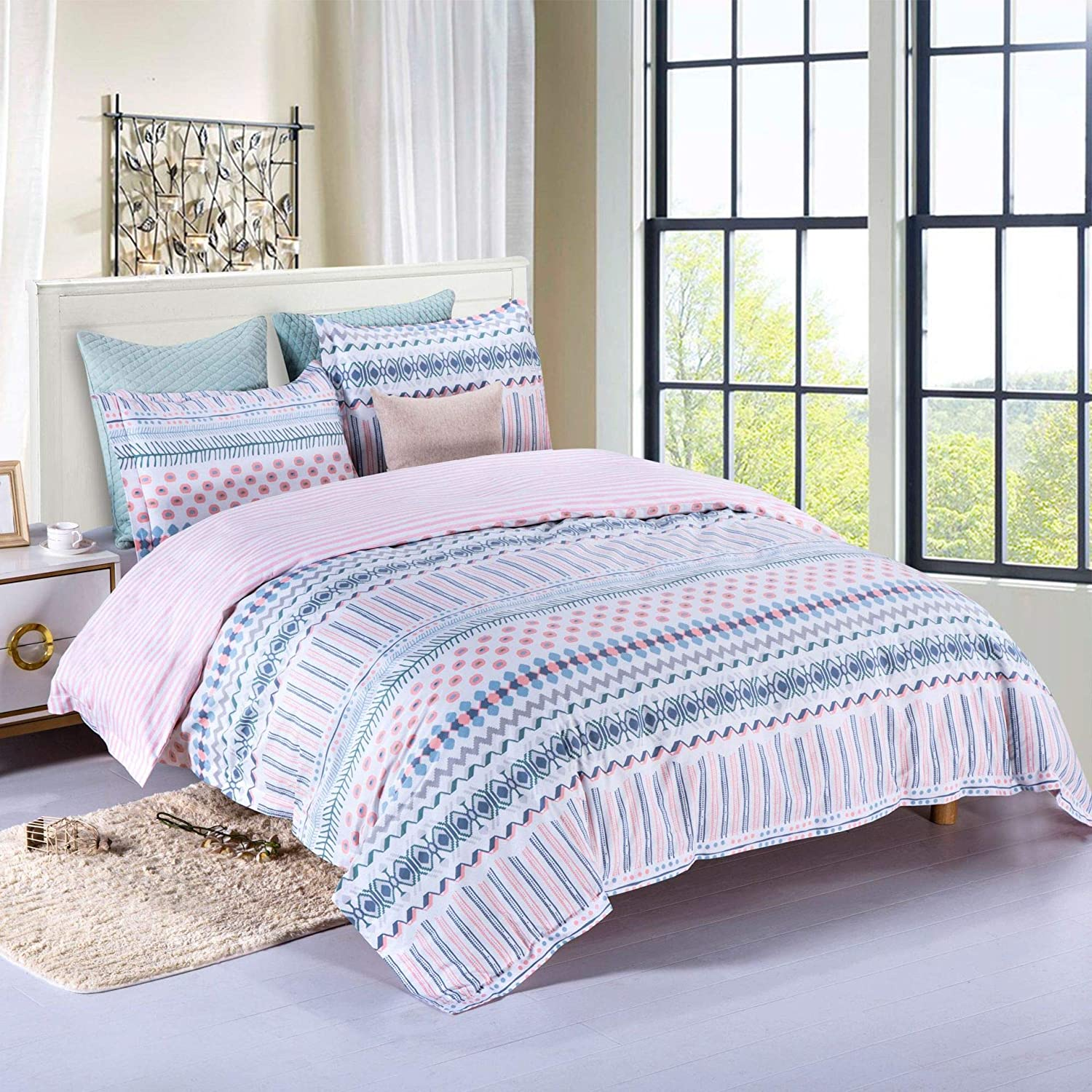Orient P&E Duvet Cover Set Full/Queen 100% Cotton, White Blue Pink Stripe Printed Pattern, Soft Breathable and Easy Care with Zipper Closure, Corner Ties, 3 Pieces