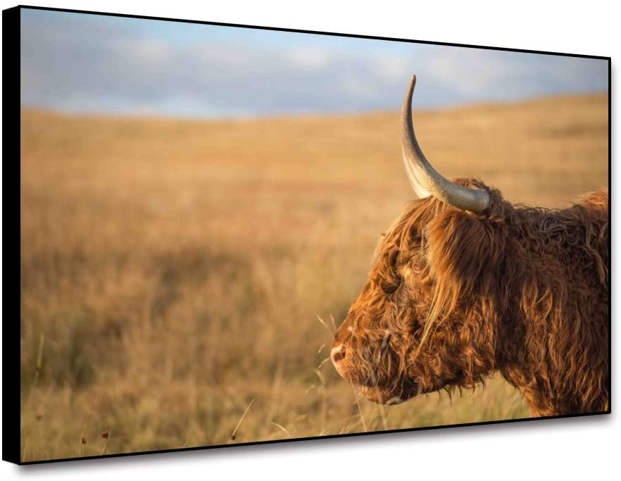 Renaiss 18x12 Inches Cattle Picture Canvas Wall Art Print Farm Animal Painting Artwork Highland Cow Cattle Pictures Rustic Funny Farm Cow Animal Wall Decor for Living Room Farmhouse Framed