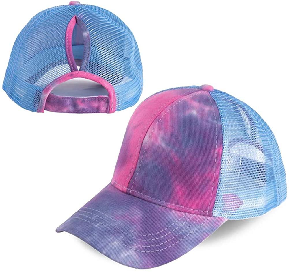 Hankyky Ponytail Baseball Cap Hat Ponycaps Messy Ponytail Adjustable Outdoor Mesh Cap Trucker Dad Hat for Women Men