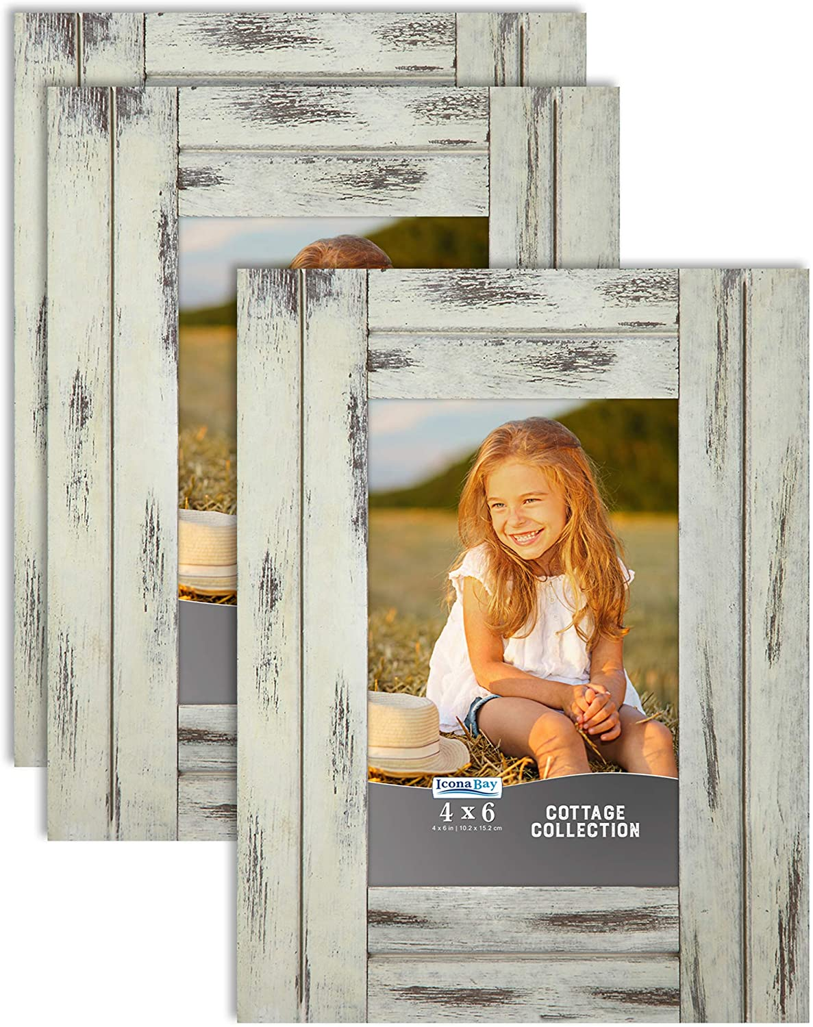 Icona Bay 4x6 (10x15 cm) Picture Frames (Creamery White, 3 Pack), Rustic Picture Frame Set, Natural Real Wood Frames, Cottage Collection
