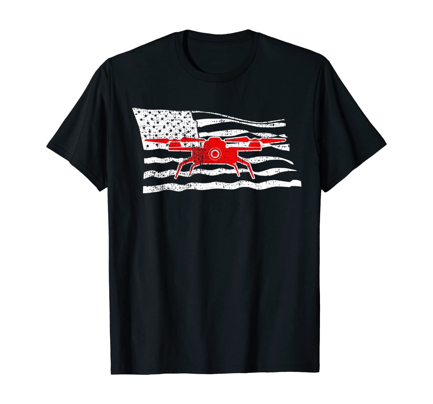 Drone T-Shirt USA Flag Tshirt 4th Of July Pilot Gift