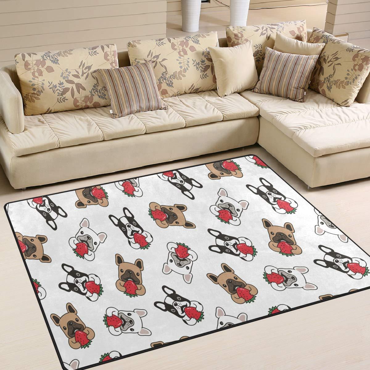 ALAZA Home Decoration Dog French Bulldog Strawberry Cartoon Large Rug Floor Carpet Yoga Mat, Modern Area Rug for Children Kid Playroom Bedroom, 5' x 7'
