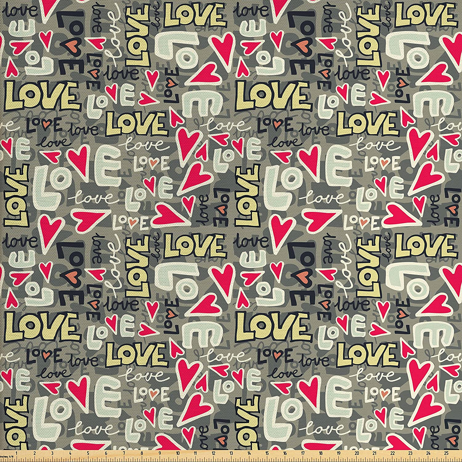Ambesonne Love Fabric by The Yard, Retro Colors Graffiti Style Texts Design Hearts Grunge Display Street Art Inspired, Decorative Fabric for Upholstery and Home Accents, Multicolor