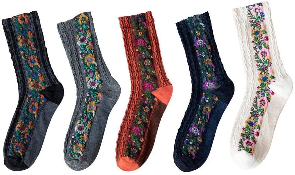Retro Florals Socks for Womens 5 Pairs Cozy Casual Calf Socks
