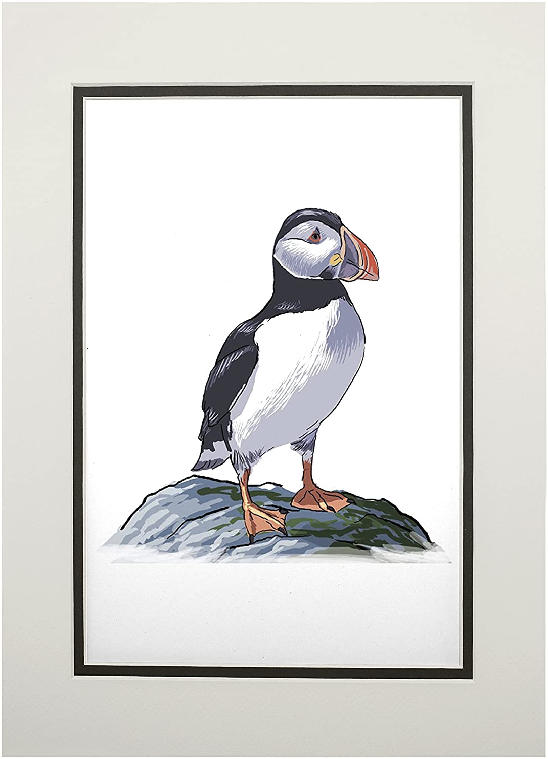 Puffin - Icon (11x14 Double-Matted Art Print, Wall Decor Ready to Frame)