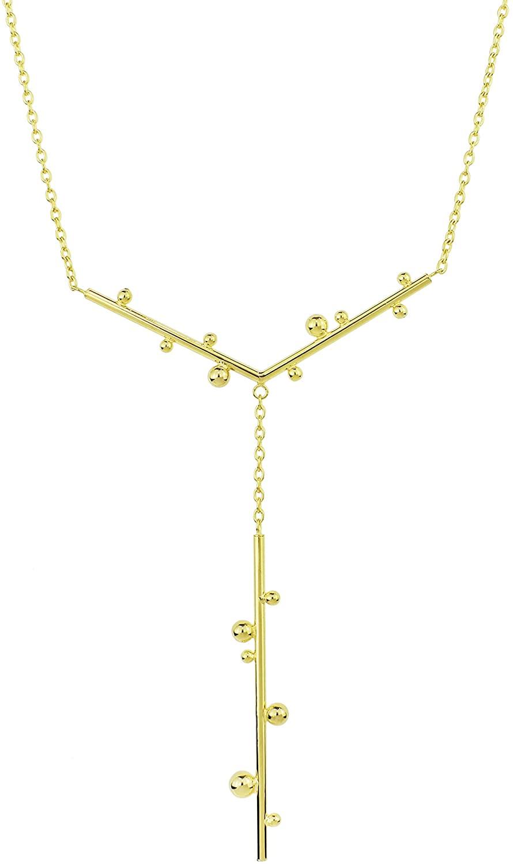14K Orbs Bar Pendant Necklace