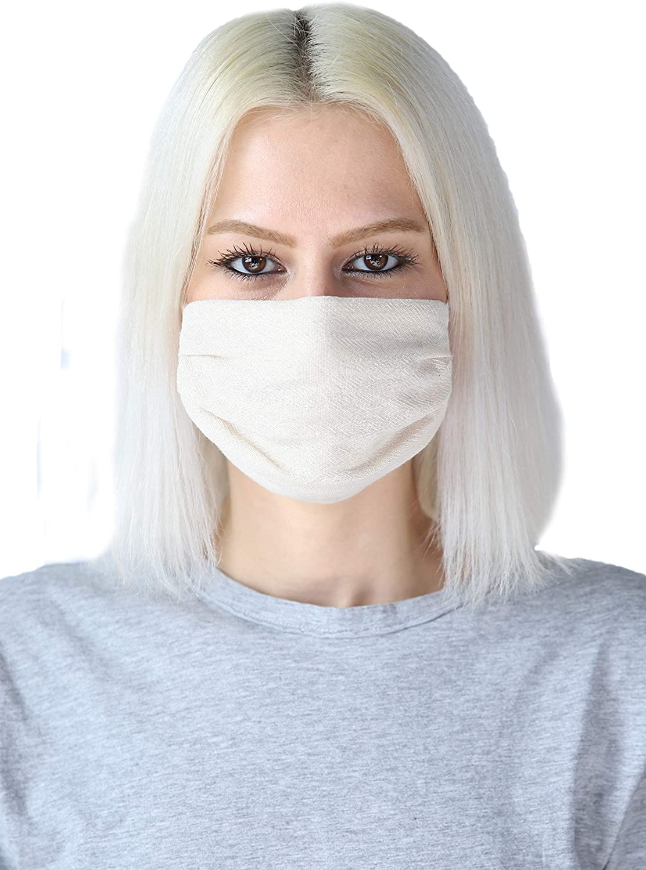 4 PCS Reusable Washable Breathable 2 Ply Cotton Cloth Face Mask (4, Cameron Beige)