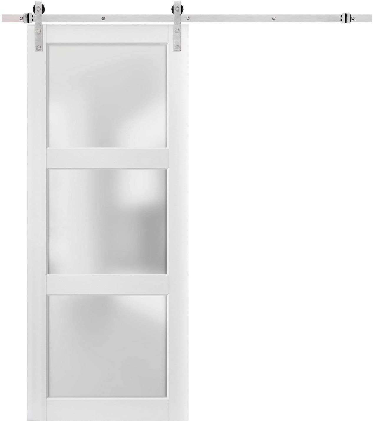 Sturdy Barn Door 36 x 84 inches Frosted Glass 3 Lites | Lucia 2552 Matte White | Top Mount Stainless Steel 6.6FT Rail Hangers Heavy Set | Solid Panel Interior Doors