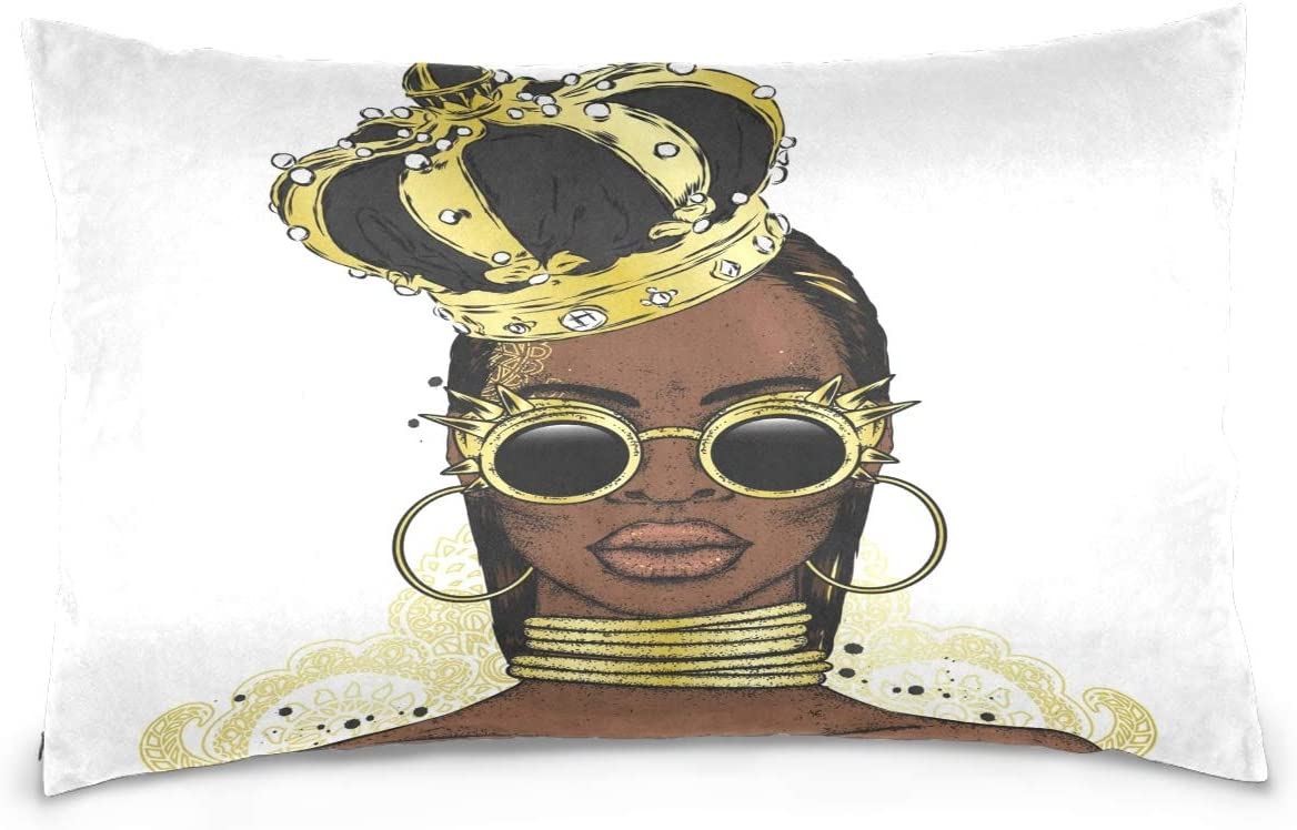 Kaariok Beautiful Black Woman Crown African Girl Pillowcase, Cotton Soft Pillow Case Cover Protector with Hidden Zipper 16 X 24 Inches