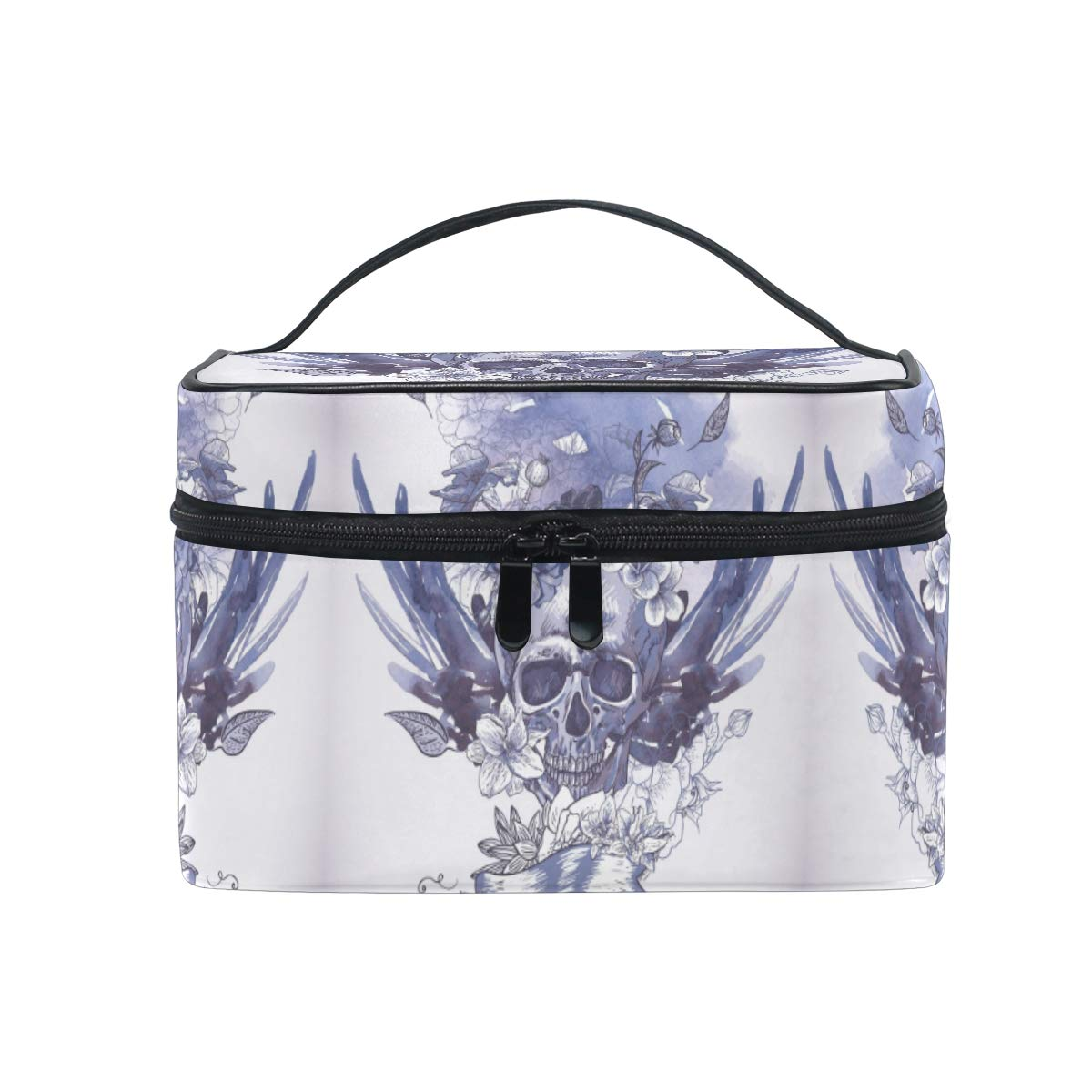 Makeup Bag Purple Skull Wing Flower Travel Cosmetic Bags Organizer Train Case Toiletry Make Up Pouch