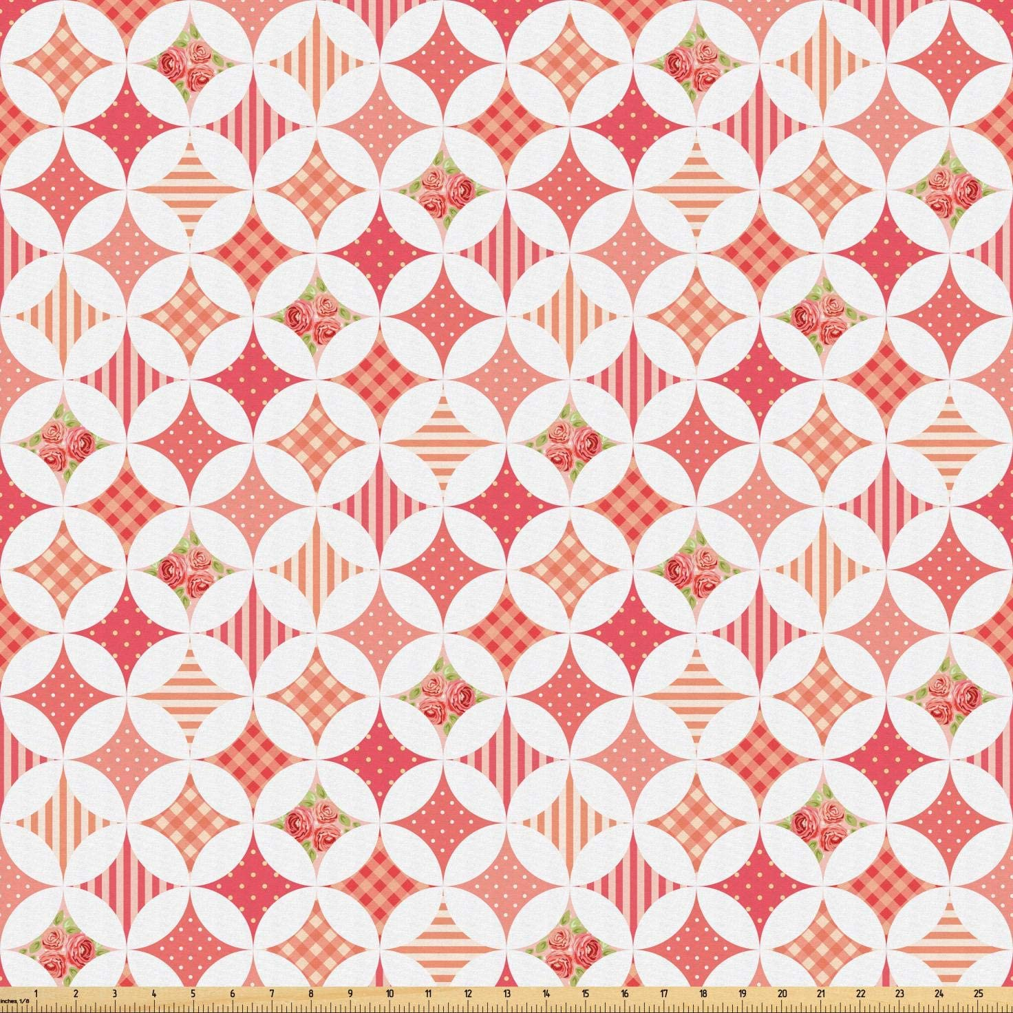 Lunarable Country Fabric by The Yard, Intertwined Circles Gingham Polka Dot Candy Stripe Floral Rose Leaves Pattern, Microfiber Fabric for Arts and Crafts Textiles & Decor, 1 Yard, Coral White
