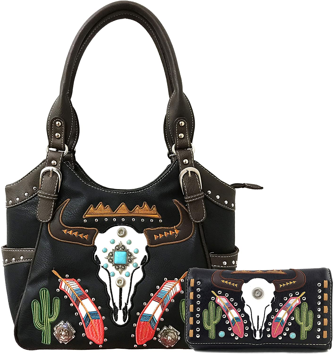 Zelris Longhorn Skull Embroidered Feather Cactus Design Conceal Carry Women Tote Purse Handbag with Crossbody Wallet Set