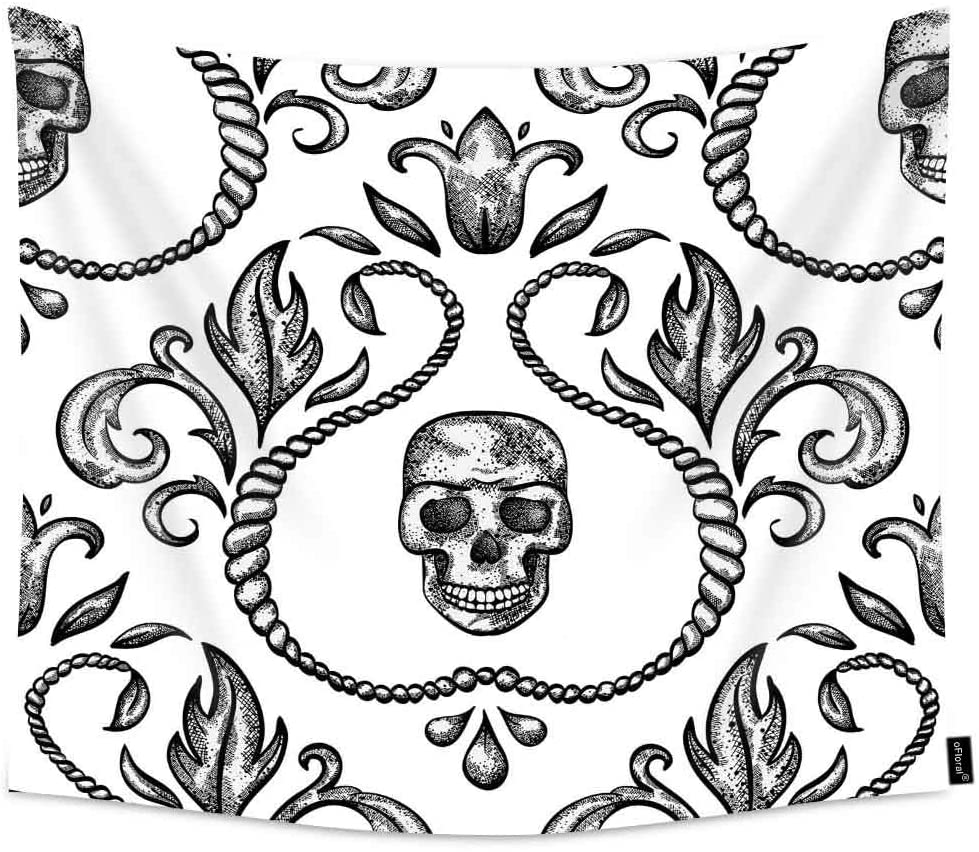 oFloral Skull and Flower Extra Large Tapestry Wall Hanging African Elements, Indian Style Tapestry Wall Hanging for Bedroom 60x90 inches