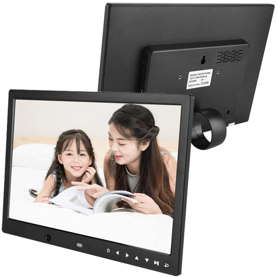 Mugast 1280800 Multi-Functional Digital Photo Picture Frame,13in HD LED Screen MP3/4 Music Video Player with Bracket and Remote Control for Home and Office(Black US Plug)