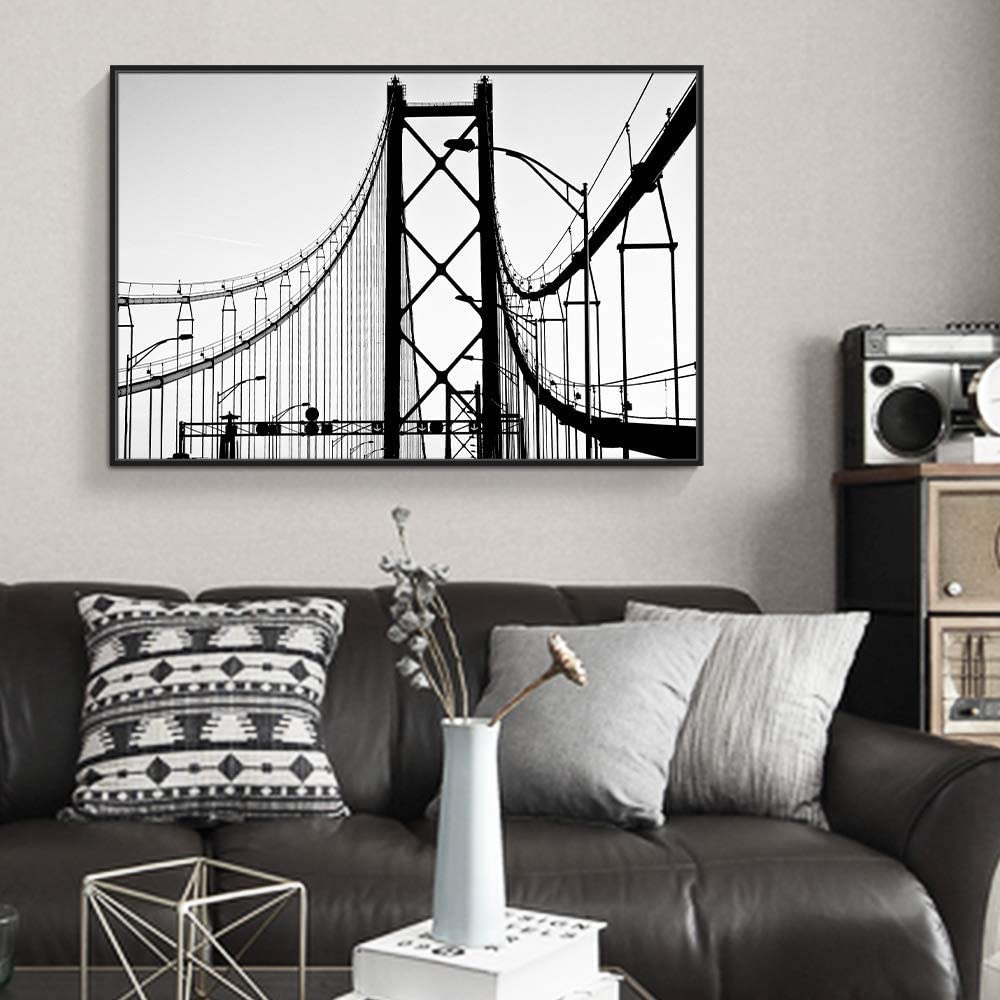 wall26 Framed Canvas Wall Art for Living Room, Bedroom Bridge Lines Canvas Prints for Home Decoration Ready to Hang - 16x24 inches