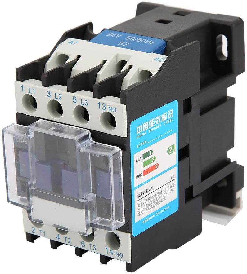 Oyunngs AC Contactor, Rail Mount Contactor Industrial Electric Contactor CJX2-0910-Durable and Reliable( 24V AC)