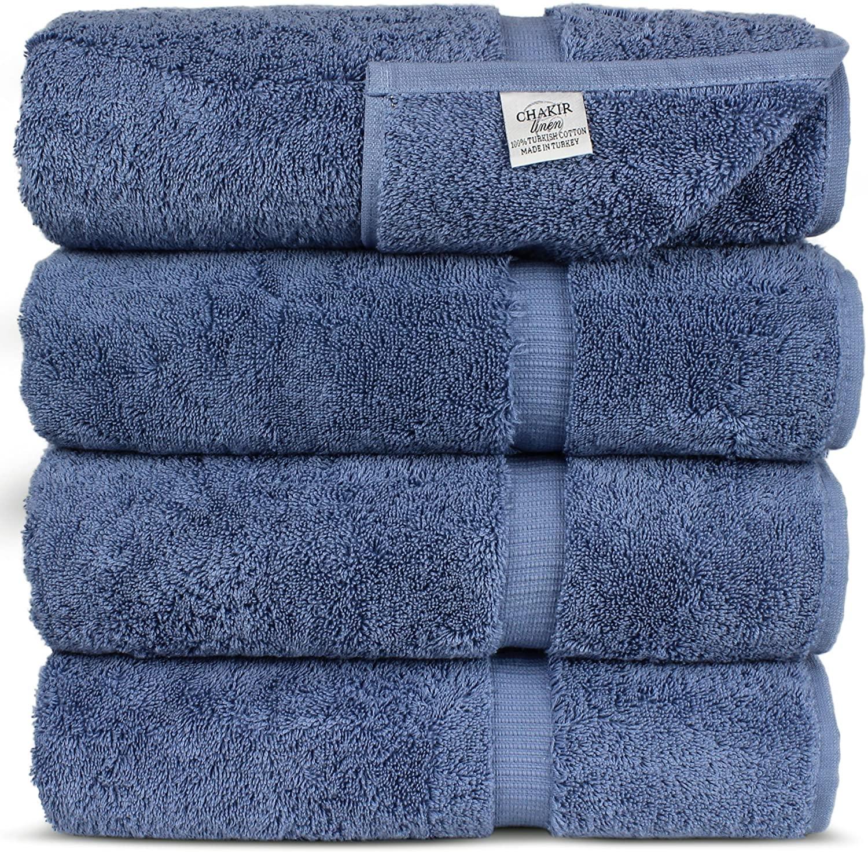 Chakir Turkish Linens Dobby Border Luxury Hotel & Spa Turkish Cotton (Bath Towel-Set of 4, Wedgewood), 4 Count