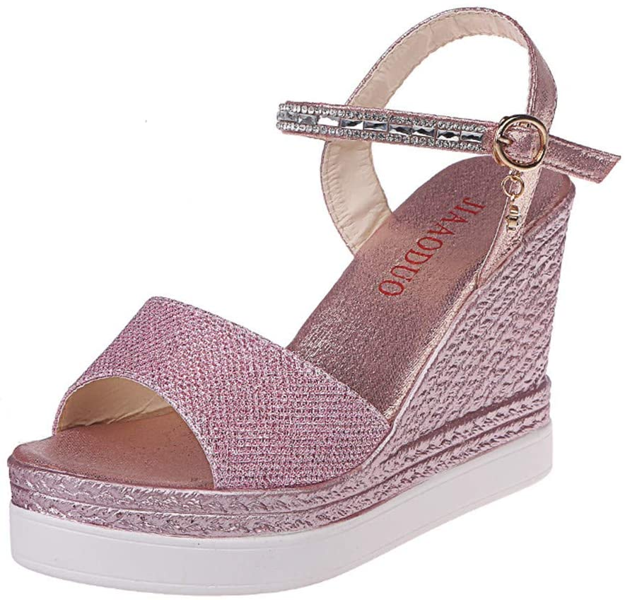 Clearance!Women Fashion High Wedges Sandals, lkoezi Lady Summer Shoes Sandals Wedge Buckle Pearl Rhinestone vintage Cool Shoes