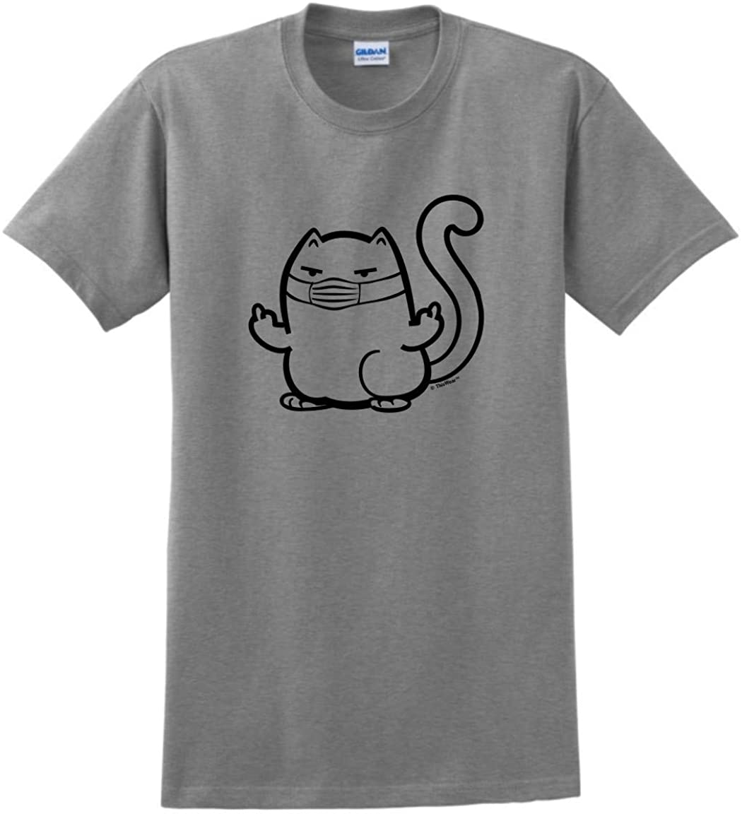 Rude Cat Meme with Face Mask T-Shirt