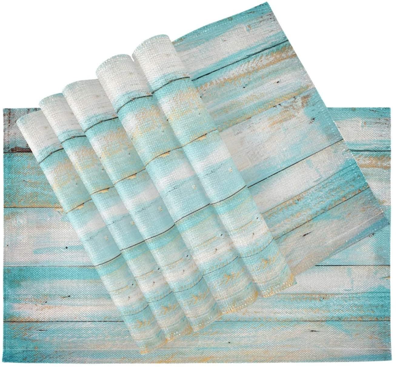 ALAZA Placemats Blue and White Vintage Wooden Borad Table Mats Washable Heat-Resistant Kitchen Place Mats for Dining Table Decoration 12 x 18 inch Set of 6