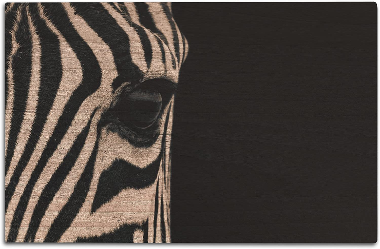 Lantern Press Zebra Eye (12x18 Wood Wall Sign, Wall Decor Ready to Hang)
