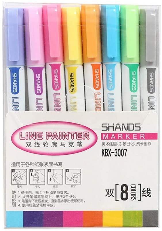 Drawing Double Line Outline Pen Highlighter Marker Pen 8 Colors for School Double Contour, Office & Stationery Home Decor Living Room for Easter