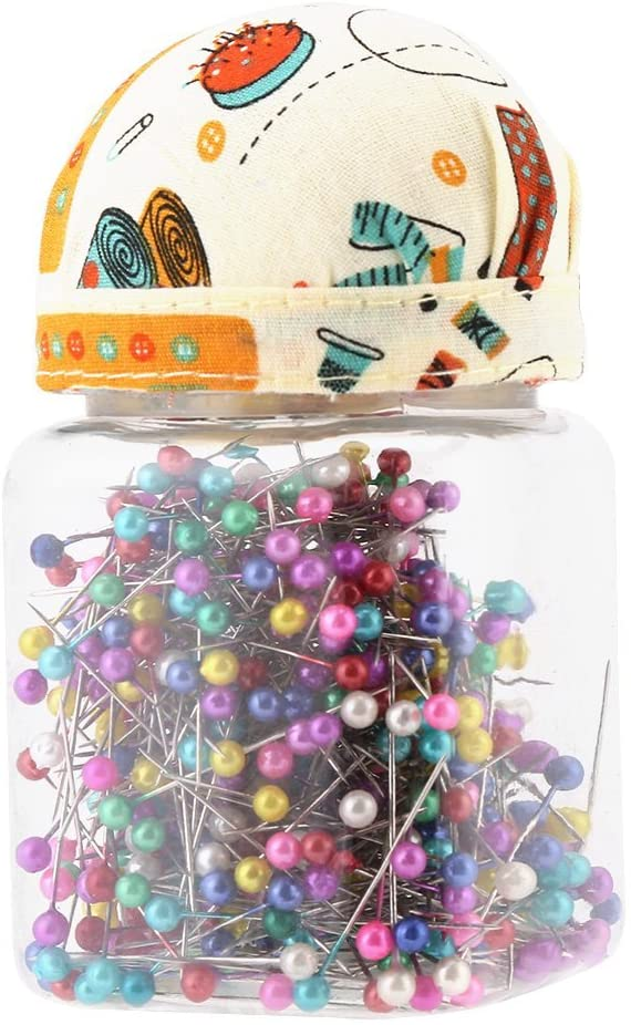 Sewing Pins, 500PCs Beads Needles Quilting Straight Pins Ball Head Orange Fabric Covered Pin Cushion Mixed Round Pearl Bottle Sewing Craft Accessories - Multicolor