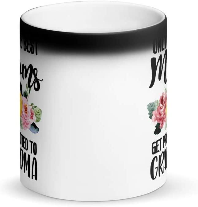 Only The Best Moms Get Promoted To Grandma Matte Black Magic Mug   Pregnancy Announcement   Baby Shower   New Grandparents Gift   New Grandma   Proud Nana   Grandma Mug   Happy Mothers Day (11oz)