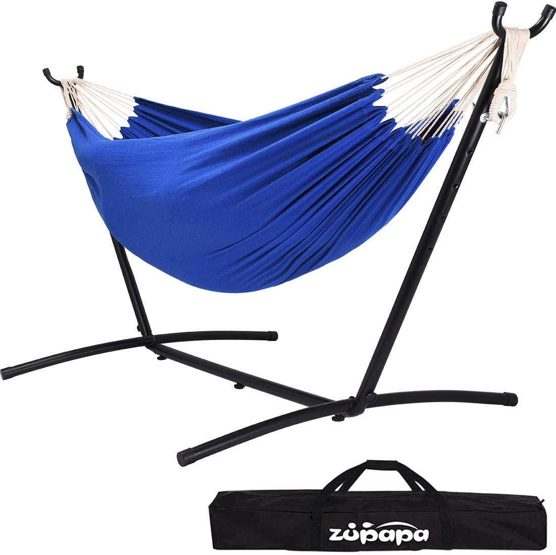 Zupapa Double Hammock with Stand and Carrying Case, 10Feet Hammock Frame, 2 People Hammock Combo for Backyard Garden Patio Indoor Outdoor  (Blue)