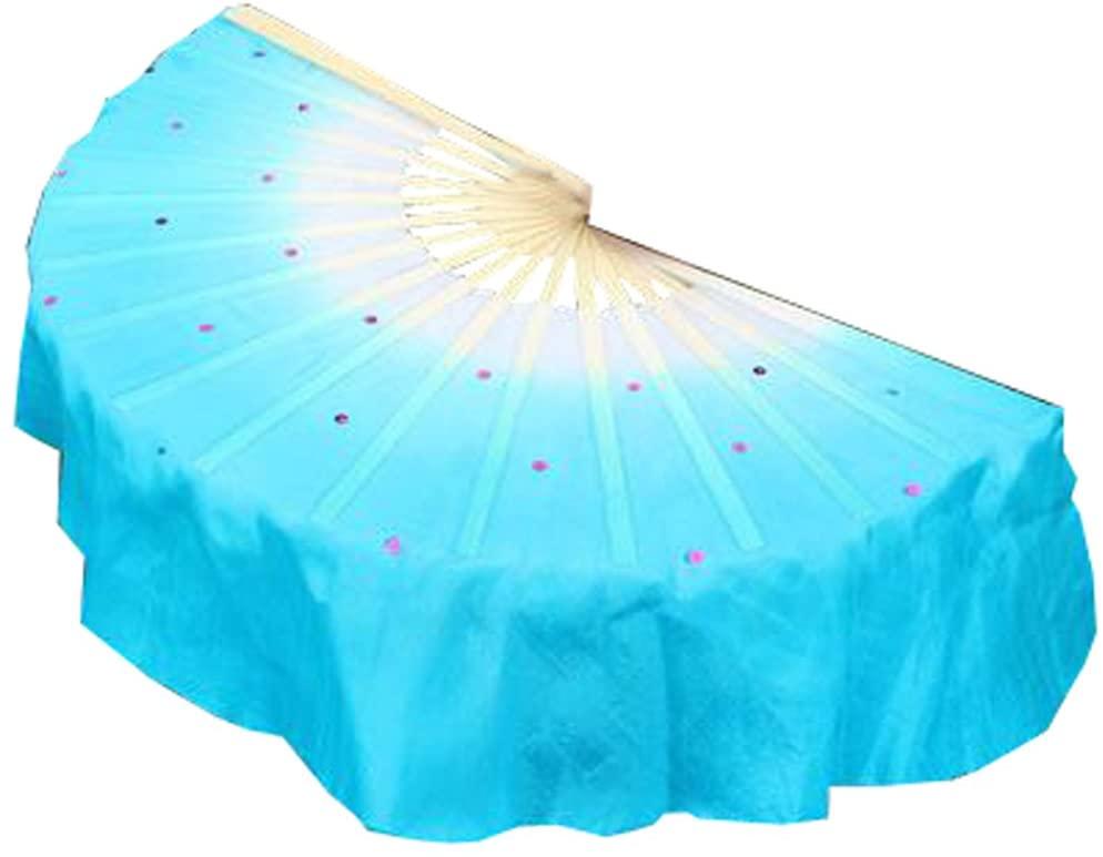 Blancho Bedding Folding Long Fan/Dancing Fan/Yangge Dance Fan/Colorful Perform Fan for Right Hand(Blue#01)