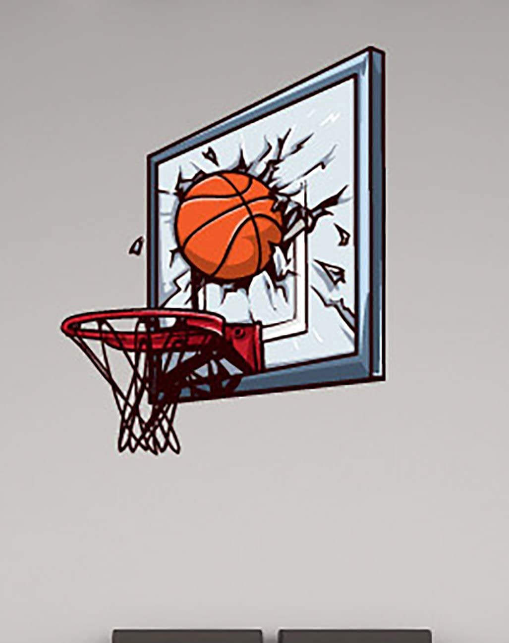 Basketball Broken Headboard Wall Decals Stickers Uscolor010, Brown w/Blue, 60 Inches