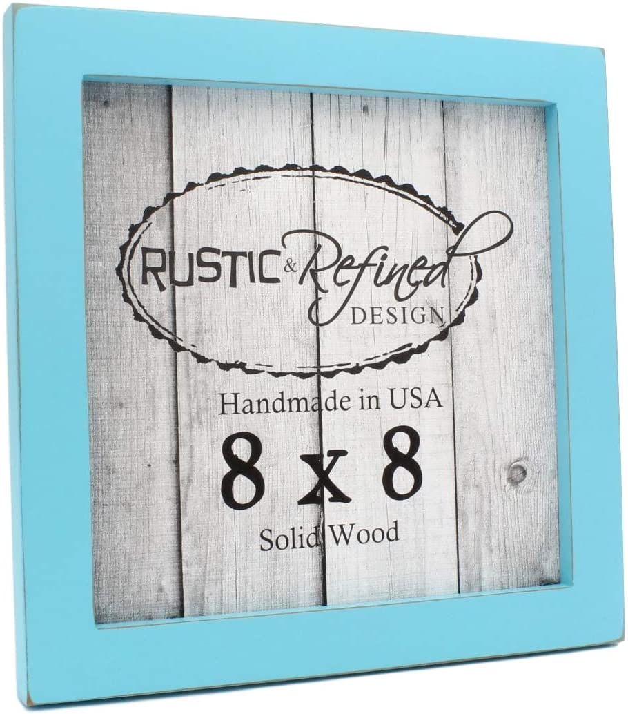 Rustic and Refined Design 8x8 Solid Wood Made in USA Picture Frame with 1 Inch Border (Gallery Collection) - Turquoise