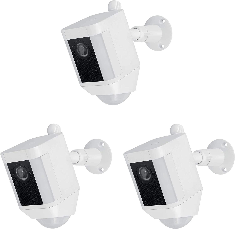 Wasserstein Metal Mount Compatible with Ring Spotlight Cam Battery - Adjustable Indoor/Outdoor Security Mount (3 Pack, White)