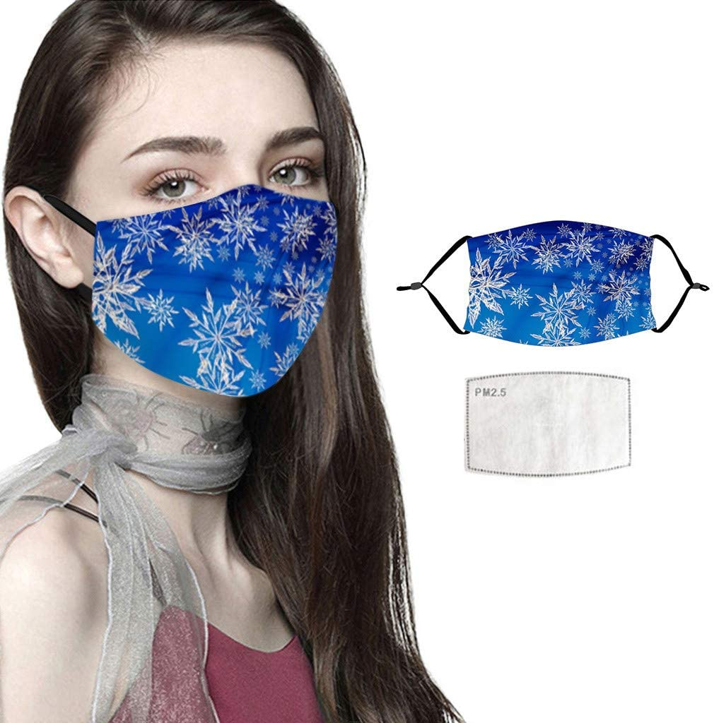Face Covering, Fashion Protective, Unisex Black Dust Cotton, Washable, Reusable Cotton Fabric,Christmas Dust-Proof Breathable Cycling Pocket Macks